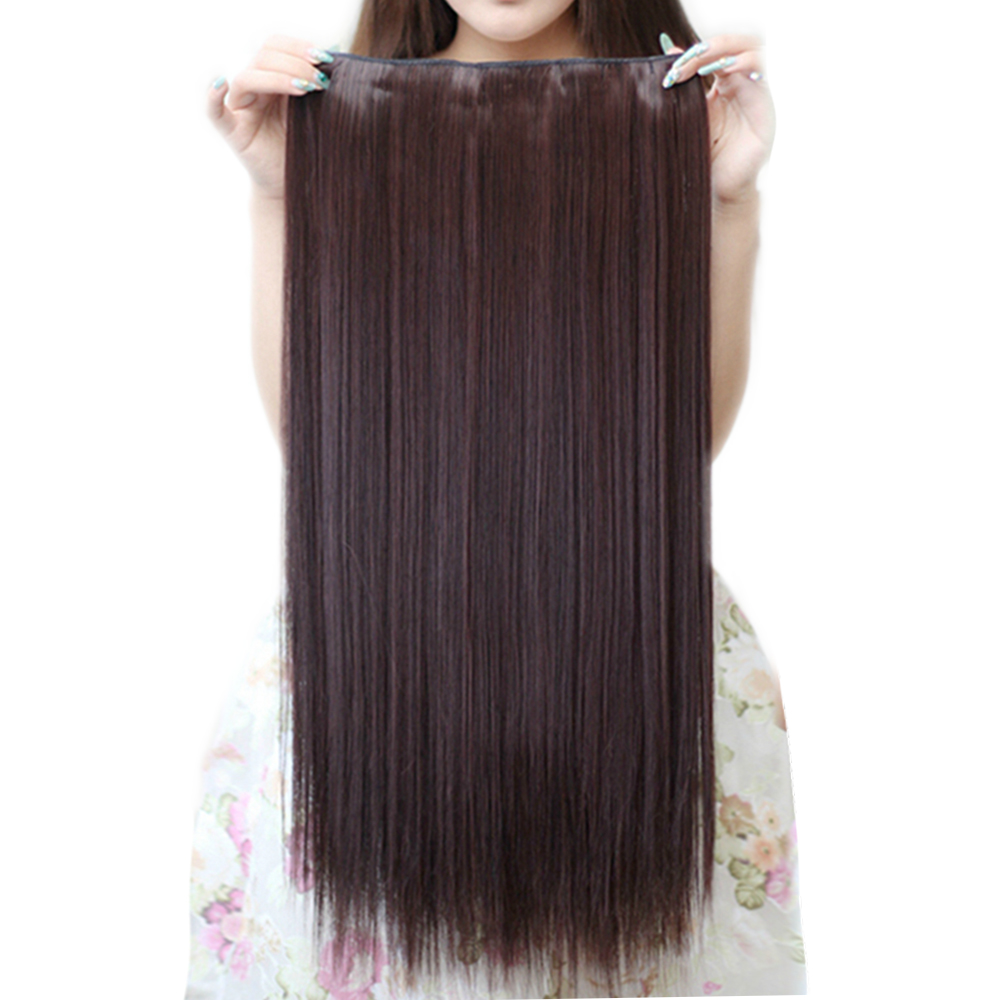 Agrafe synthétique de cheveux de femmes de longue droite de 20 couleurs dans l'extension de cheveux noire grise postiche de Fiber à hautes températures