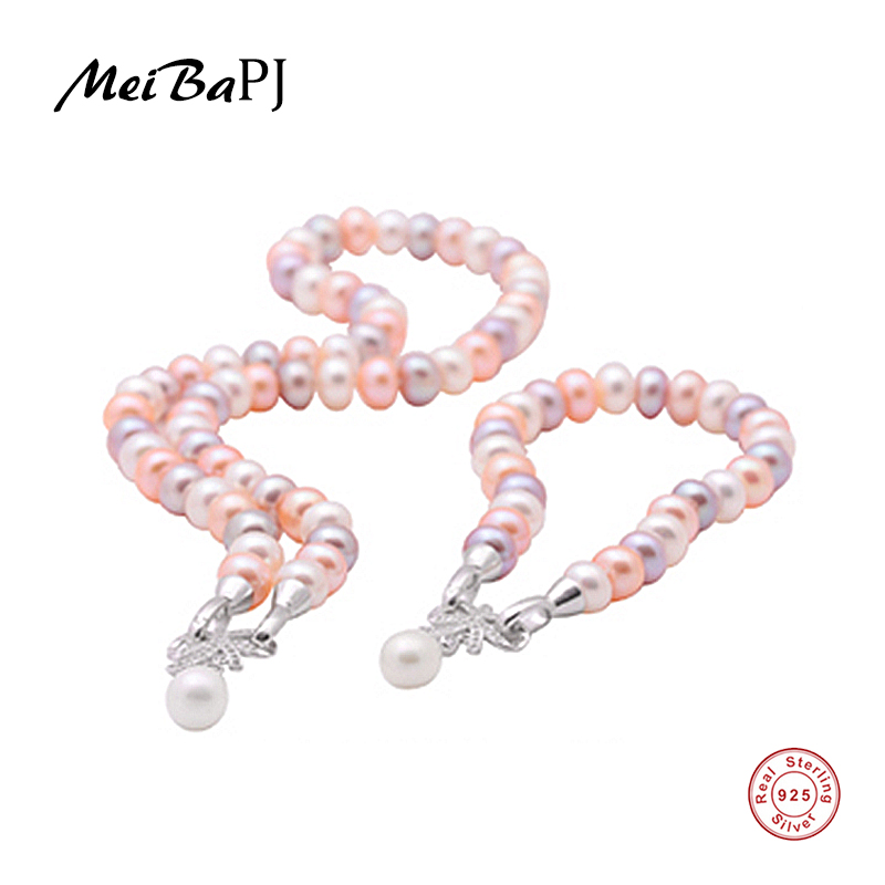 [MeiBaPJ] 100% real natural freshwater pearl jewelry sets necklace and bracelet for women real 925 silver bow pendant gift box real freshwater long pearl necklace for women natural pearl pendant necklace 925 silver jewelry wedding best gift box white