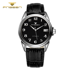 FNGEEN 6608 Fashion Automatic wristwatch Men Leather Mechanical hollow Watch top quality mens famous waterproof clock vintage