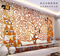 Klimt Painting Wall Mural The Tree Of Life Photo Wallpaper Custom Famous Painting Wallpaper Room Decor
