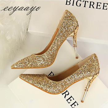 2019 New Spring Women Pumps High Thin Heels Pointed Toe Metal Decoration Sexy Bling Bridal Wedding Women Shoes Gold High Heels 3