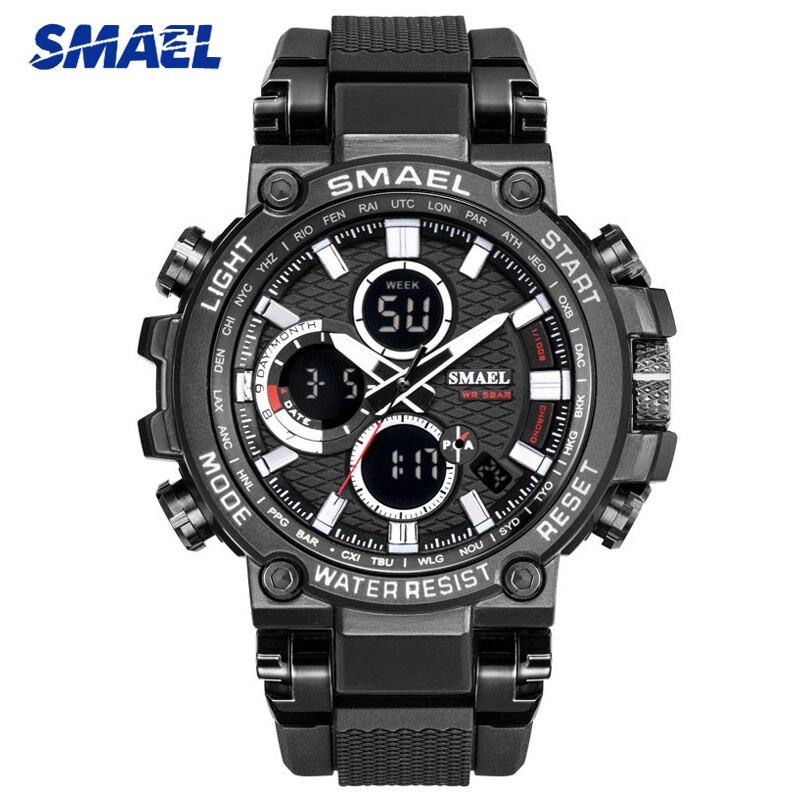 SMAEL Sports Men Watch Mens Analog Quartz Watches Man LED Digital Waterproof Military Wristwatch Male Clock Relogio Masculino