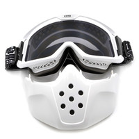 BJMOTO New Motorcycle Face Mask Dust Mask with Detachable Goggles And Mouth Filter Modular for Open Face Moto Vintage Helmets