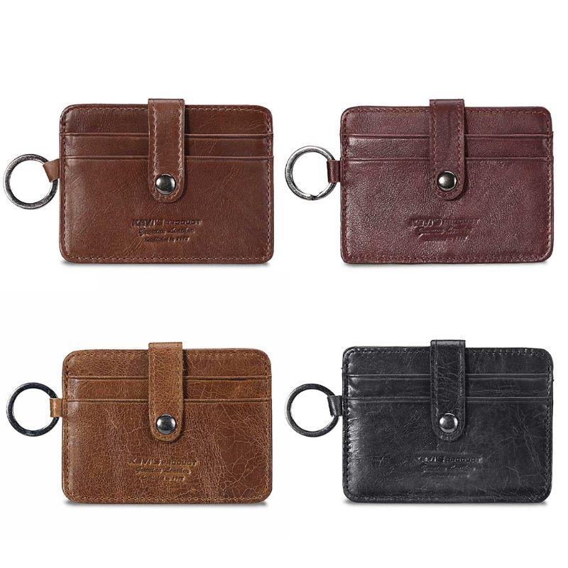 THINKTHENDO Fashion Genuine Leather Slim Pocket Wallet ID Credit Card Holder Money Organizer For Women Men 2020