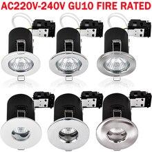 220V GU10 Iron/Die-Cast IP20 /IP65 Waterproof Fireproof Downlight Recessed  Locked / Tiltable D25