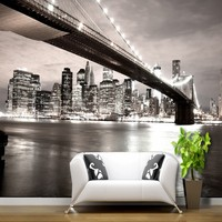 Free Shopping American City Bridge Bustling Night View 3D Stereo Black White Classic Background Wall Restaurant