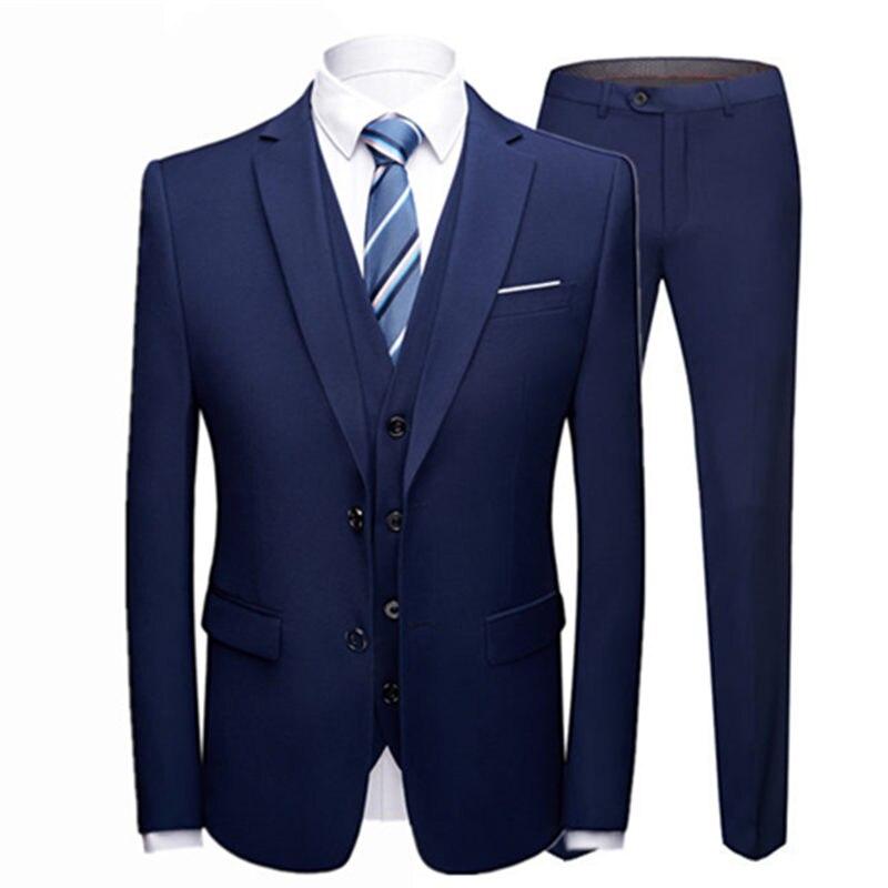 19 Color / Fashion Men's Casual Business Suit 3 Pieces Set / Men's Two Button Suits Blazers Trousers Pants Vest Waistcoat