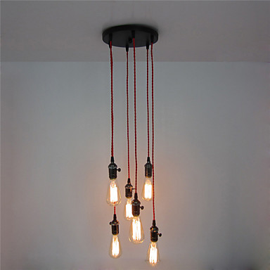 6 heads Style Loft Industrial Lamp Vintage Pendant Lights Home Lighting Living Dinning Room LED Edison Light Fixture edison inustrial loft vintage amber glass basin pendant lights lamp for cafe bar hall bedroom club dining room droplight decor