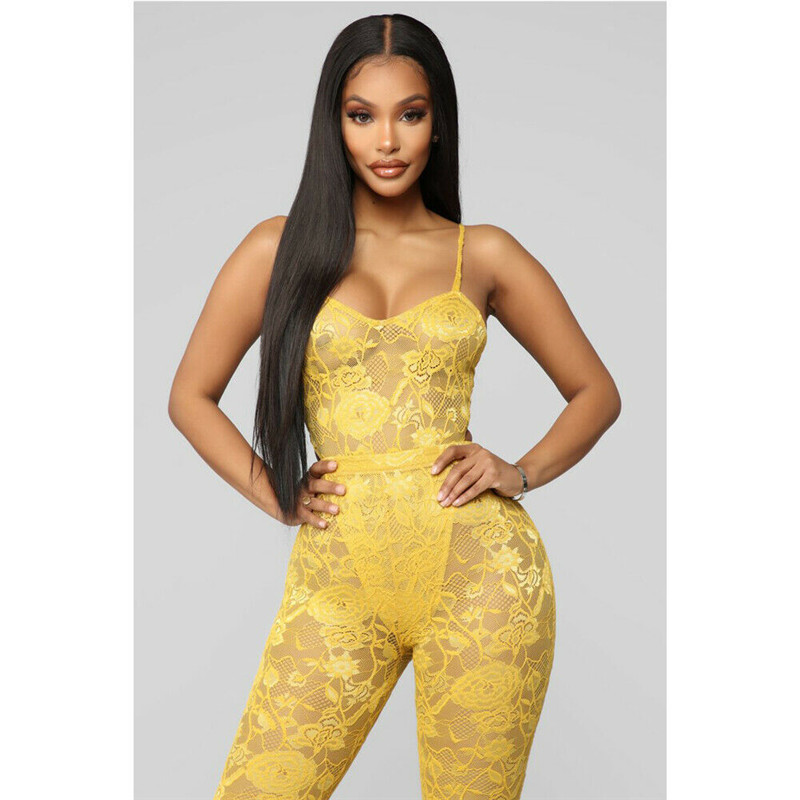 2109 Fashion Women Lady Black Playsuit Bodycon Sleeveless Lace Top Boot Cut Solid Color Yellow   Jumpsuit   Romper Trousers New Item