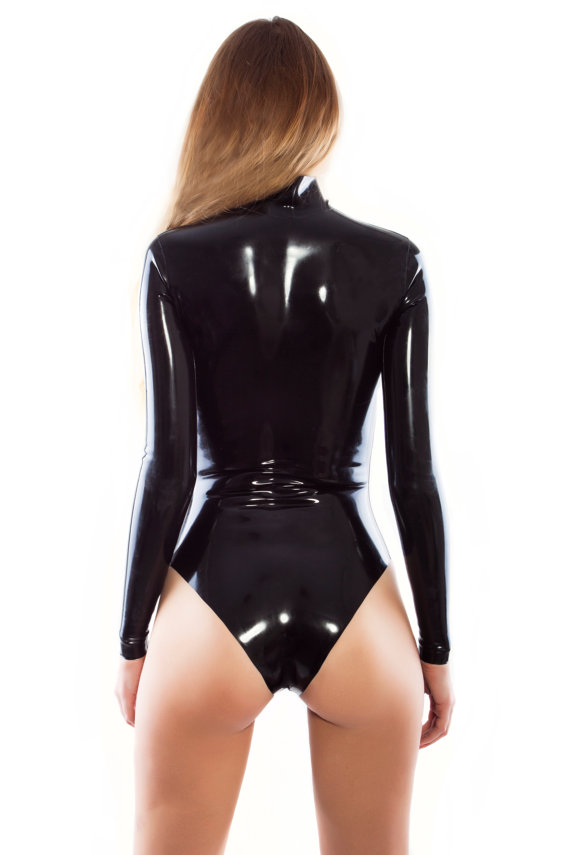 High Neck Shoulder Zip Entry Latex Leotard Sexy Latex Swiming Suit Latex Rubber Leotard 0.4MM Thickness Shoulder Zipped