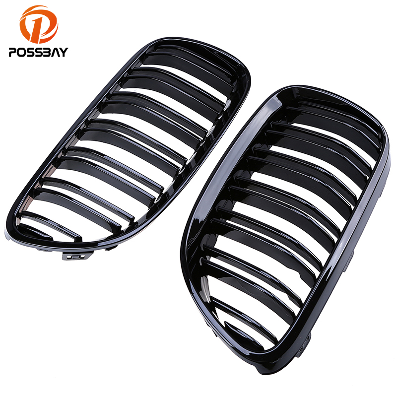 POSSBAY Gloss Black Double Lines Grille Grills for BMW 3 Series E93 325i 328i 330d Cabrio