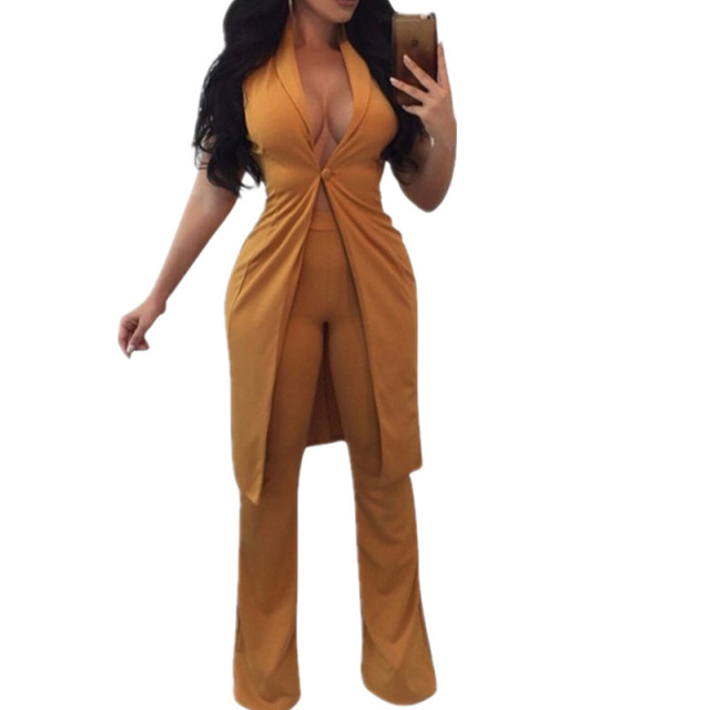 36daf5d0b1 Fashion Office Lady Pant Suits Brand New Sexy Sleeveless Single Button Long  Blazer Suit + Pants Women 2 Piece Set 3 Color Solid