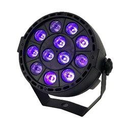Diodo emissor de luz do estágio efeito 12x3 w ultravioleta cor plana par dmx512 dj discoteca lâmpada ktv bar festa luz de fundo feixe projetor holofotes