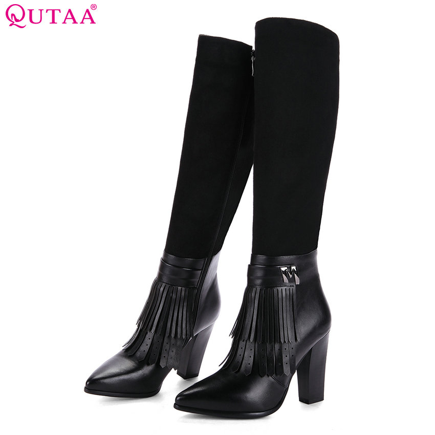QUTAA 2018 Women Knee High Boots Fashion Tassel Square High Heel Pointed Toe Westrn Style Ladies Boots Size 34-39 nikove 2018 zippers solid women boots vintage style ankle boots square high heel square toe ladies fashion boots size 34 39