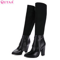 QUTAA 2018 Women Knee High   Boots   Fashion Tassel Square High Heel Pointed Toe Westrn Style Ladies   Boots   Size 34-39