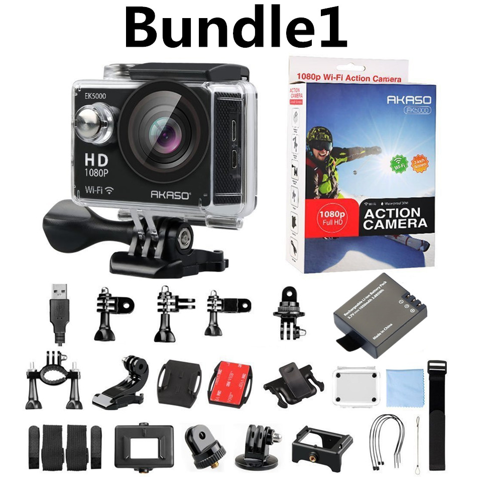 AKASO EK5000 Sport WIFI Bundle Action Camera 100% Original  12MP 170 Degree Wide Angle Ultra HD go waterproof pro camera 2017 arrival original eken action camera h9 h9r 4k sport camera with remote hd wifi 1080p 30fps go waterproof pro actoin cam