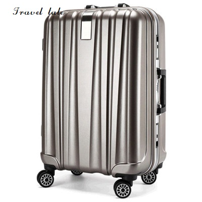 Travel tale 20/24 inches PC Rolling Luggage fashion customs lock Spinner brand business Travel Suitcase travel tale color stitching 20 22 24 26 28 inches abs high quality rolling luggage spinner brand travel suitcase
