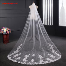 Fashion Wedding Accessories 2018 Appliques Tulle Long Cathedral Wedding Veil Lace Edge Bridal Veil With Comb 3.5*1.8 Casamento(China)
