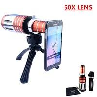 Высокая-конец 3in1 50X Металл телескоп телефото зум-объектив для Samsung Galaxy S3 S4 S5 S6 S7 Edge Plus телефонные Чехлы Объективы для фотокамер комплект
