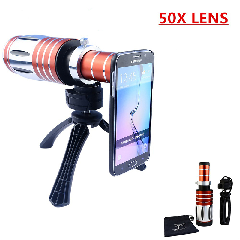 High-end 3in1 50X Metal Telescope Telephoto <font><b>Zoom</b></font> Lens For Samsung <font><b>Galaxy</b></font> S3 <font><b>S4</b></font> S5 S6 S7 edge Plus Phone <font><b>Cases</b></font> Camera Lenses Kit image