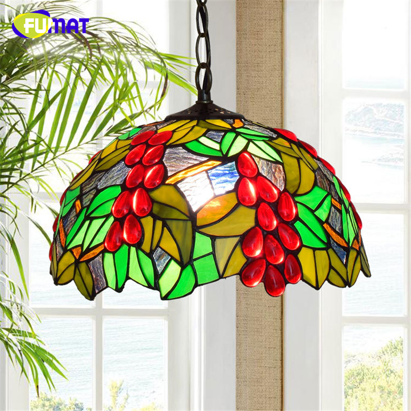 FUMAT Creative Red Grape Art Pendant Lights Art Stained Glass Lighting For Living Room Dining Room LED Glass Pendant Lights fumat stained glass pendant lamps european style baroque lights for living room bedroom creative art shade led pendant lamp