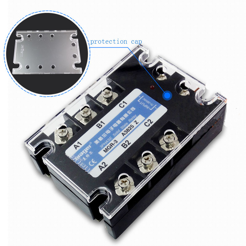 Free shipping 1pc High quality 100A Mager SSR MGR-3 38100Z AC-AC Three phase solid state relay AC control AC 100A 380V high quality ac ac 80 250v 24 380v 60a 4 screw terminal 1 phase solid state relay w heatsink