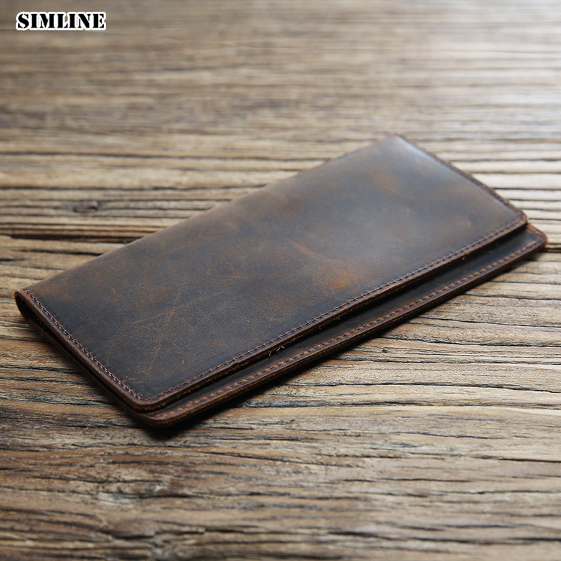 SIMLINE Genuine Leather Men Wallet Crazy Horse Cowhide Male Vintage Handmade Long Slim Thin Wallets Purse Card Holder Carteira
