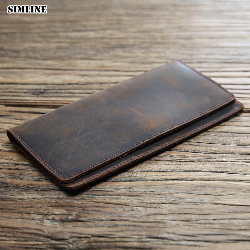 SIMLINE Genuine Leather Men Wallet Crazy Horse Cowhide Male Vintage Handmade Long Slim Thin Wallets Purse Card Holder Carteira