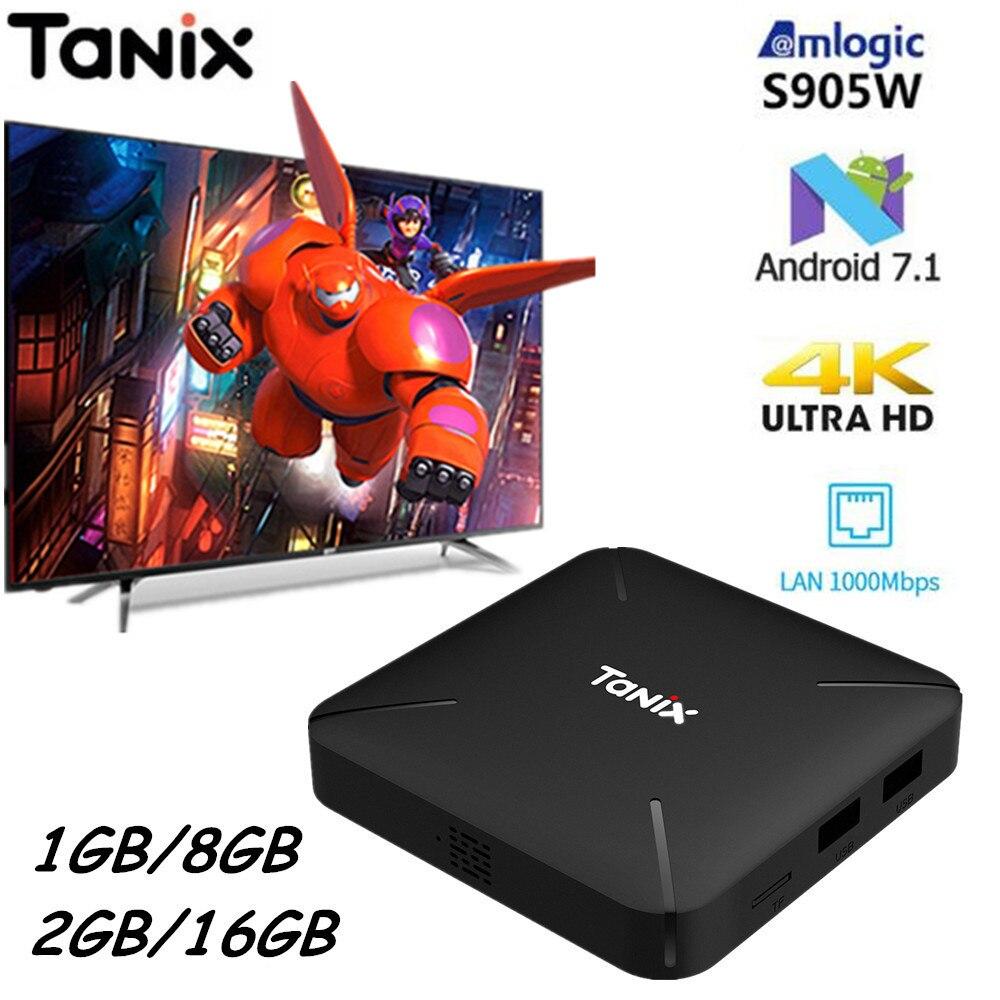 Tanix TX3 Mini L caja de TV inteligente Android 7,1 Amlogic S905W 4 K TV Box 2 GB 16 GB H.265 2,4g WiFi 100 Mbps Quad Core Smart Media Player