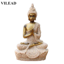 VILEAD 3.5 Woman Buddha Statue Nature Sandstone Fengshui Sculpture Thailand Figurine Meditation Home Decoration Accessories