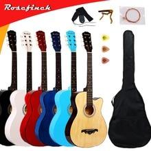 38/41 дюймов гитара, гитара, акустическая народная гитара для начинающих, 6 струн, липа с комплектами, черная, белая, деревянная, Красная гитара AGT16