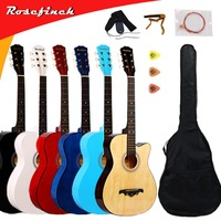 38 inch Guitar Guitarra Acoustic Folk Guitar for Beginners 6 Strings Basswood with Sets Black White Wood Red Guitar Colors AGT16