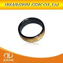 125khz/13.56mhz rfid cerâmica dourada anel de dedo inteligente t5577/uid chip wear para homem ou mulher