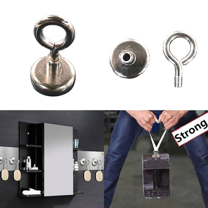 36mm 42mm 48mm Strong Powerful Neodymium Magnet Round Hook Salvage Magnet Sea Fishing Holder Pulling Mounting Pot With Ring