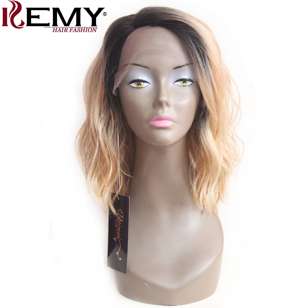 KEMY HAIR Lace Front Synthetic Wigs 14 Natural Wave Ombre Blonde Shoulder Length Invisible Side L Part Bob Wigs For Women