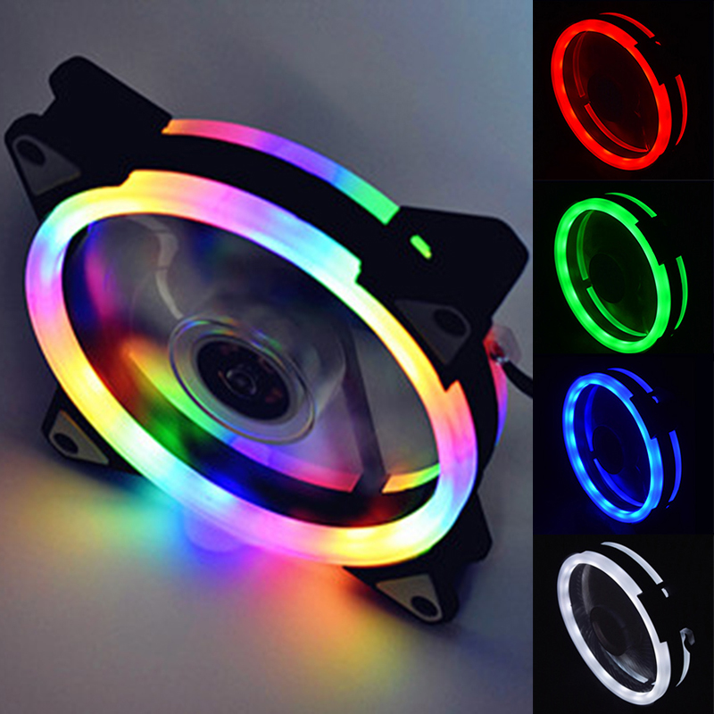 Computer LED Fans Double-sided Computer Power Supply Fan Aurora LED Light Chassis Fan Red Blue Green White Cooler Fans