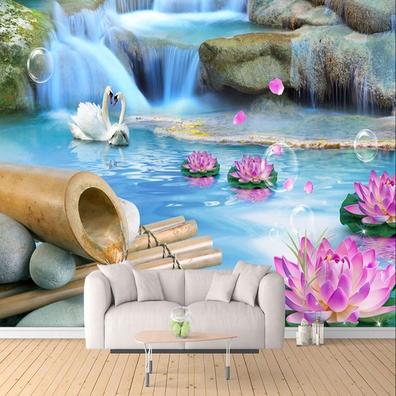 Custom Photo Wallpaper 3D Swan Lake Nature Scenery Wall Mural Living Room TV Sofa Bedroom Home Decor Wall Covering Papel Murals