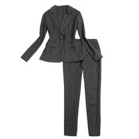 New Spring Autumn Fashion Elegant Pants Suits Women Business Wear Striped Formal Office Ladies Work Blazer+Trousers Set Feminino