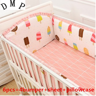 Promotion! 6PCS baby crib bed linen100% cotton baby bedding set baby cot  (bumpers+sheet+pillow cover) promotion 7pcs bed linen100