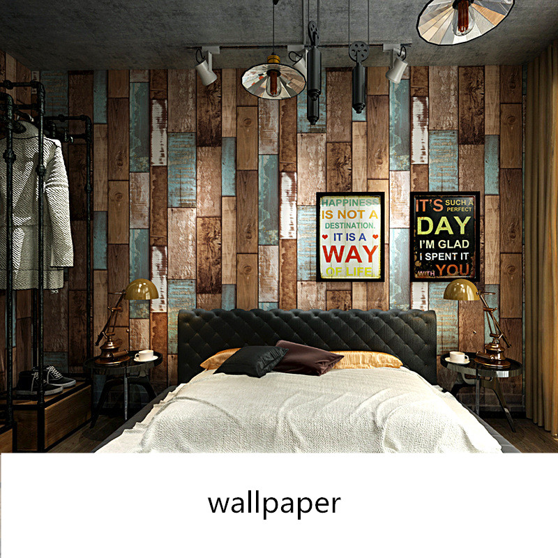Retro nostalgic imitation wood grain wallpaper Personality fashion living room office cafe wallpaper PVC decoration wallsticker in Wall Stickers from Home Garden