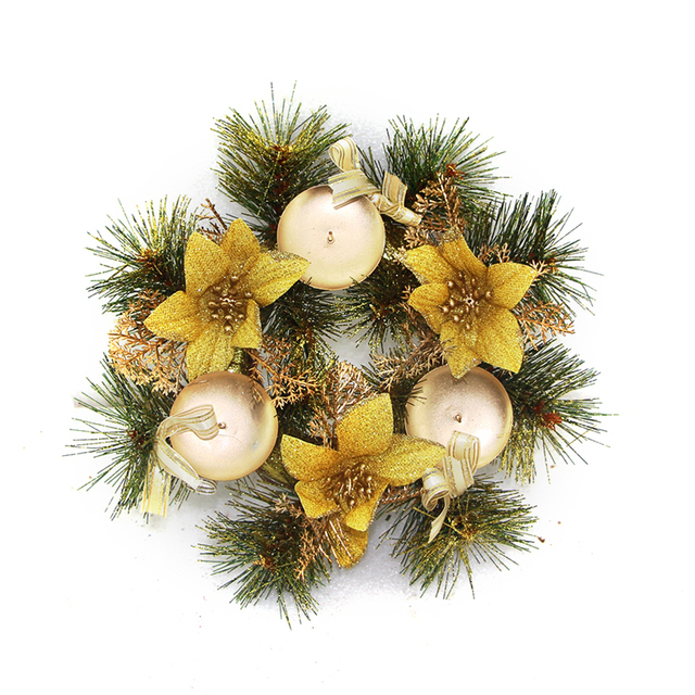 christmas wreath front door hang garland with pine needles pine cone pearls for party decoration 22cm - Hanging Garland Christmas Decorations
