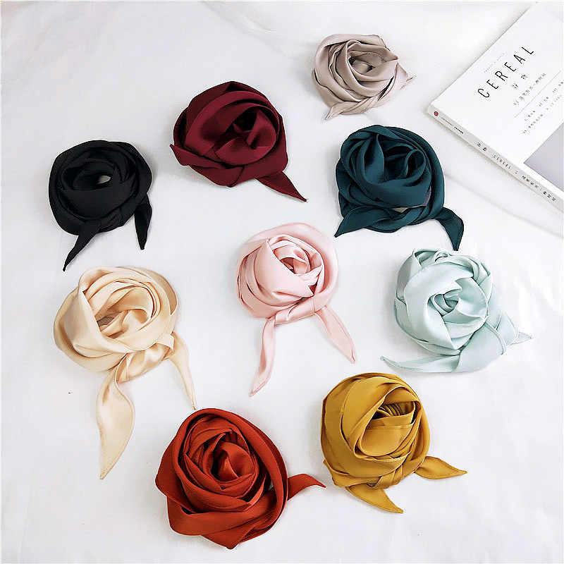 2019 Fashion Wanita Pita Sutra Syal Solid YANG Desain Gadis Selendang Syal Rambut Band Pegangan Tas Membungkus Leher Kecil Syal