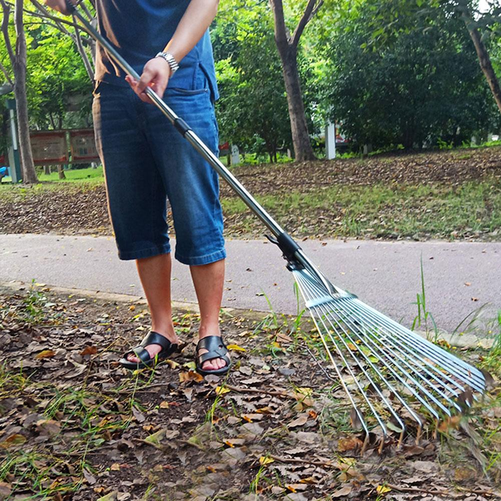 9/15 Teeth Stainless Steel Telescopic Rake Adjustable Folding Leaves Rake For Quick Clean Up Of Lawn And Yard Garden Clean Tools
