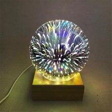 Madeira colorida 3d luz mágica bola do projetor 3d lâmpada usb fonte de alimentação quarto atmosfera luz da noite céu candeeiro mesa
