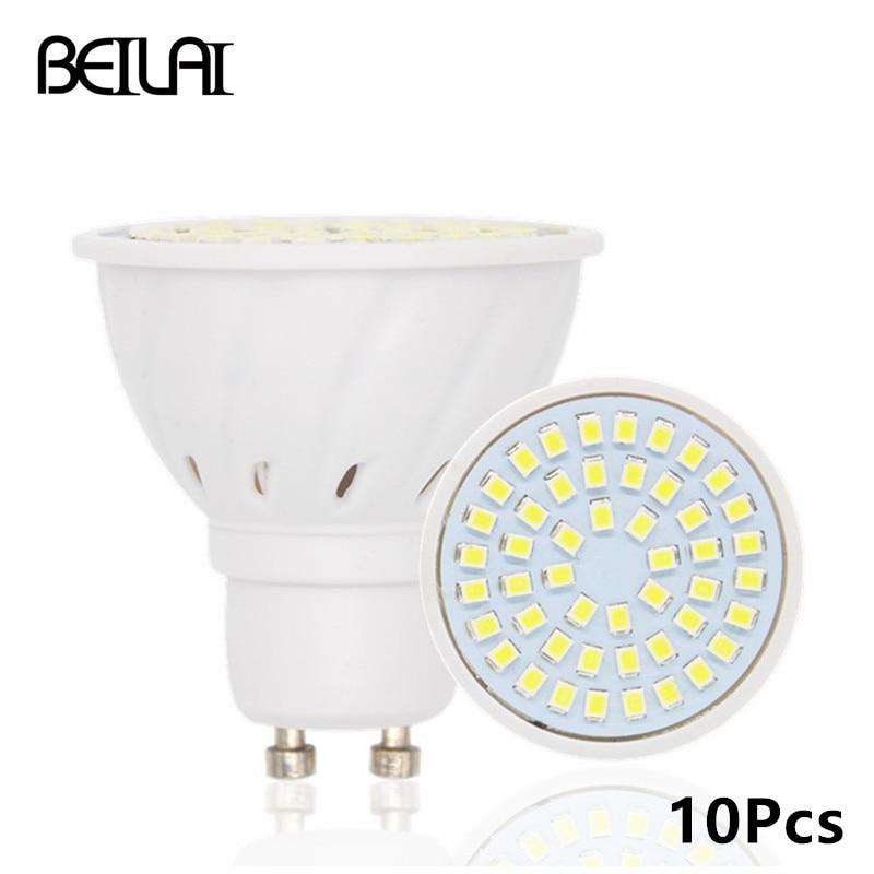BEILAI 10pcs 2835 GU10 Bombillas Led Bulbs Lights 220V 2835 Lampada De LED Lamp GU 10 Ampoule LED Spotlight Candle Luz Lamparas