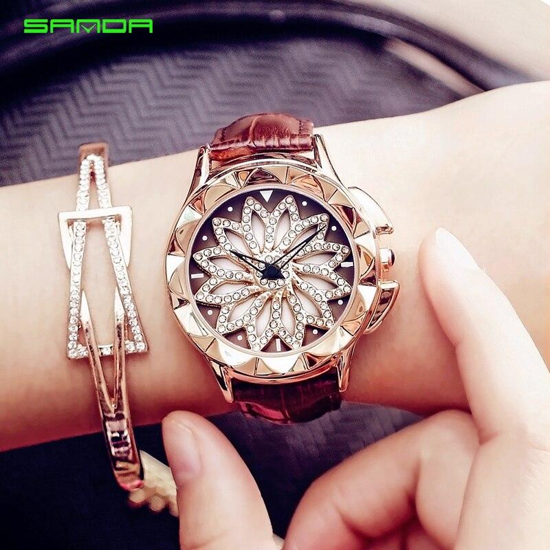 2018 Women Rhinestone Watches Lady Rotation Dress Watch Brand Real Leather Band Big Dial Bracelet Wristwatch Crystal Watch Women matisse lady austria full crystal dial