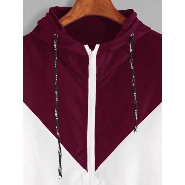Women Basic Jackets Female Zipper Pockets Casual Long Sleeves Coats Autumn Hooded Jacket Two Tone Windbreaker Jacket 4