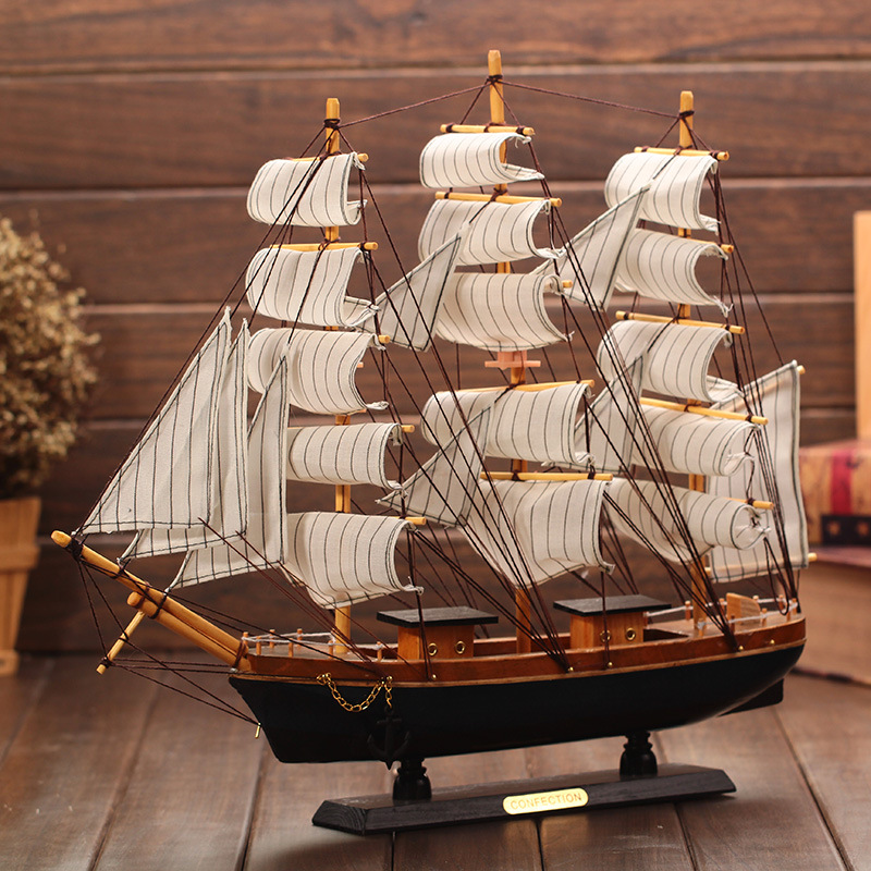 Wooden Ship Model Nautical Decor Home Crafts Figurines Miniatures Marine Blue Sailing Wood Boat Decoration In From
