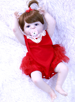 """23"""" Full body silicone vinyl reborn Toy Lifelike newest Real touch sleeping princess dolls baby Child play house briquedos"""