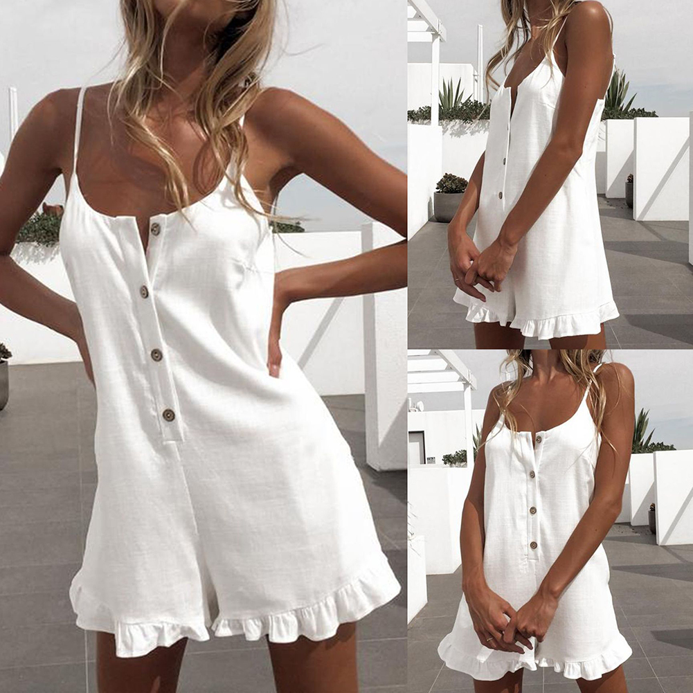 Summer Playsuits Women Jumpsuit Short Cotton Linen Casual Ruffles  Strap Boho Sexy Rompers Overalls Playsuit Mujer